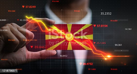 686175420 istock photo Graph Falling Down in Front Of Republic of Macedonia Flag. Crisis Concept 1218756371
