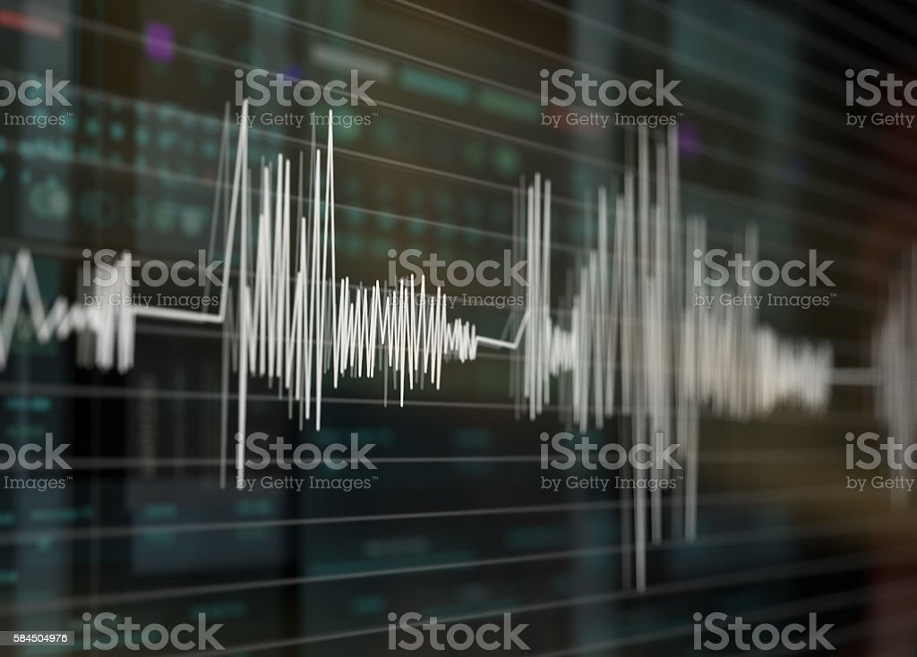 Graph, heart rate, white lines on technology background. - Photo