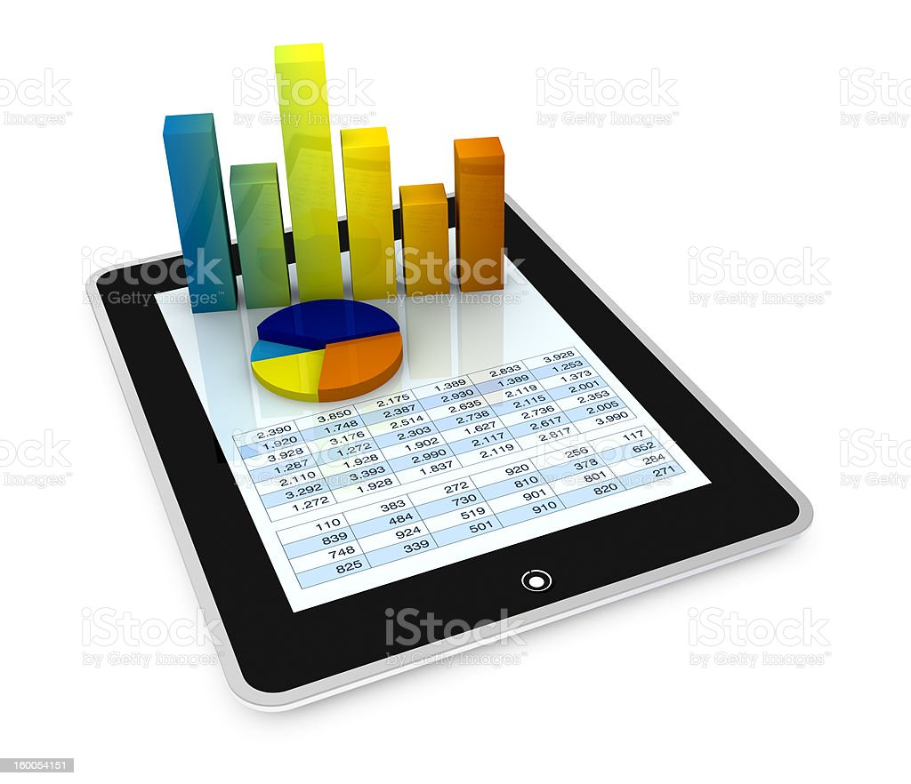 3D graph images on a tablet computer spreadsheet one computer tablet showing a spreadsheet with some 3d charts over it (render) Blue Stock Photo
