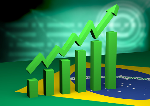istock graph in bars with arrow indicating economic growth in Brazil. New Brazilian government. 3D illustration 1089061002