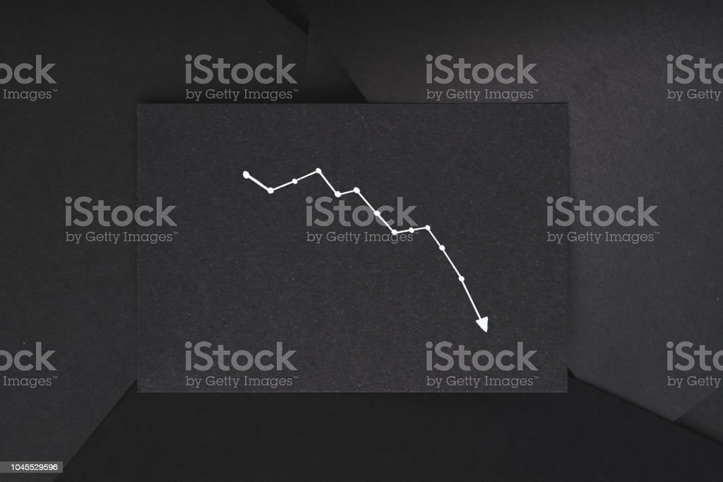 graph loss failure decrease down black background stock photo