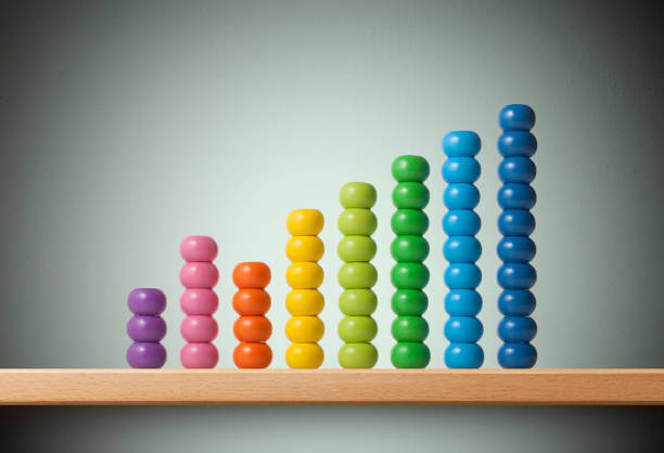 Graph made of colored beads of abacus - foto stock