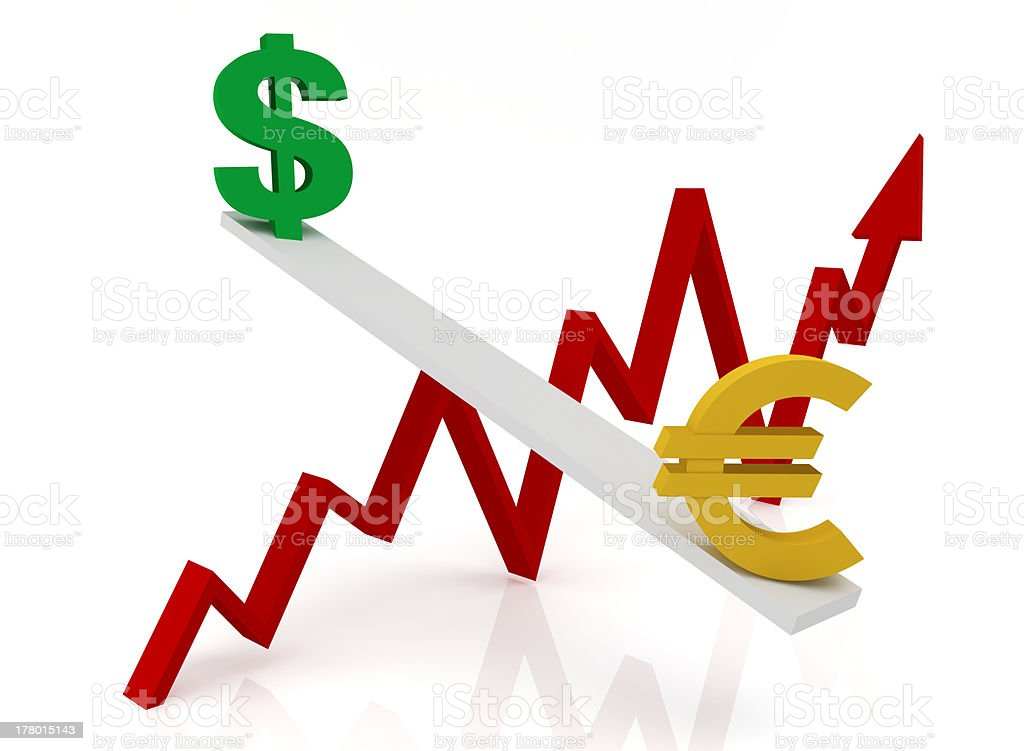 Graph of changes in exchange rates: dollar and euro royalty-free stock photo