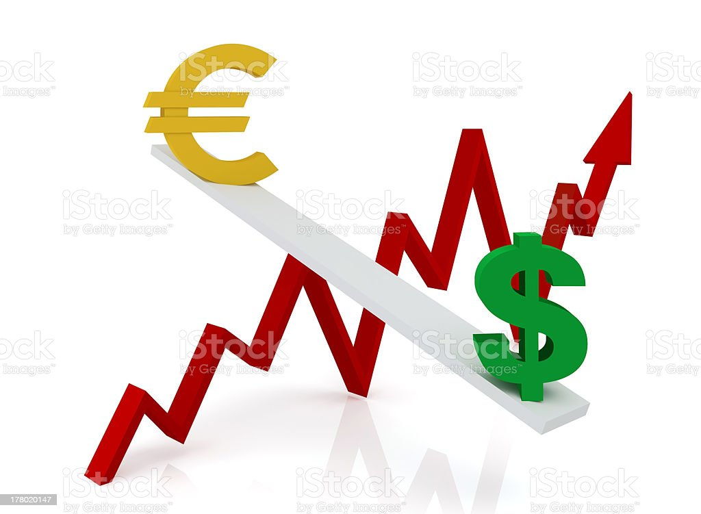 Graph of changes in exchange rates: euro and dollar royalty-free stock photo