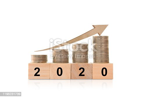 1039640896 istock photo Graph of coins economics growth, Isolated on a white background. Concept success in 2020 year. 1195231739
