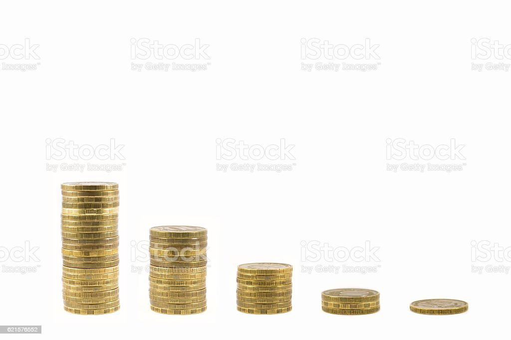 Graph of coins falling photo libre de droits