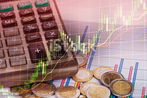 istock Graph  of coins for finance and banking concept 864278180
