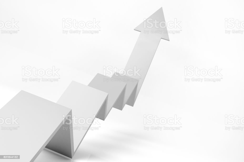 3D graph of growth white theme stock photo