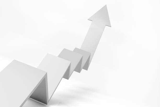3d graph of growth white theme - arrow symbol stock pictures, royalty-free photos & images