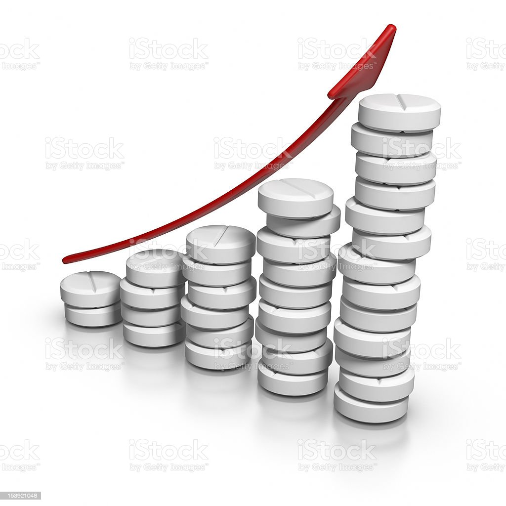 Graph of increasing medicine usage royalty-free stock photo