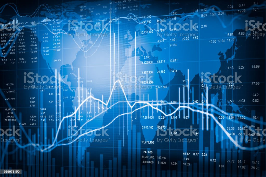 Graph Of Stock Market Data And Financial With Stock Analysis