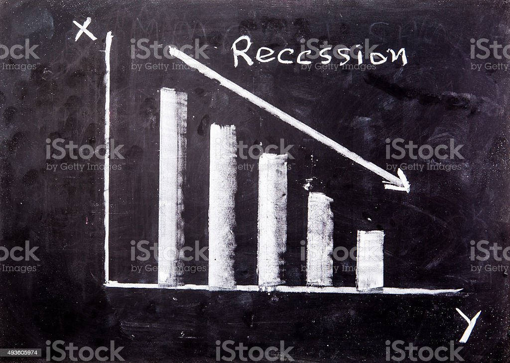 Graph on blackboard stock photo