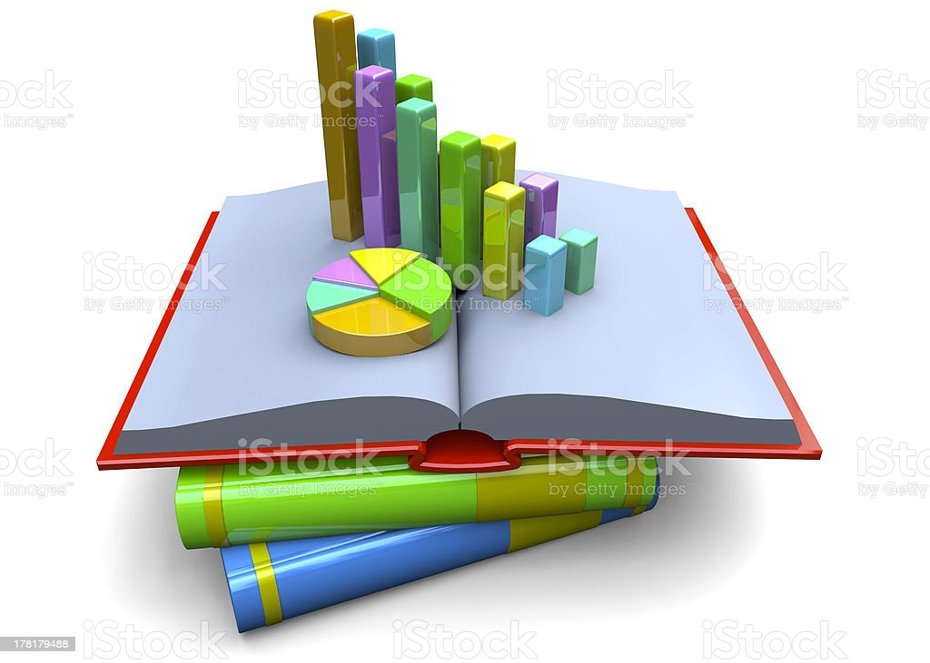 Graph on books royalty-free stock photo