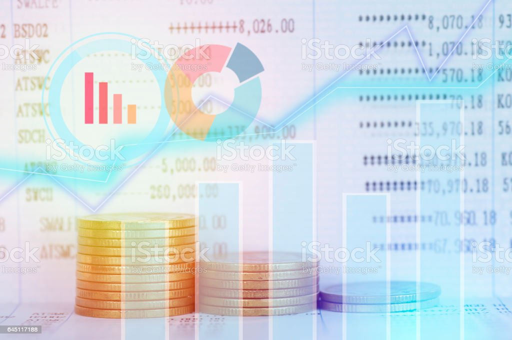 graph on rows of coins for finance and banking concept stock photo