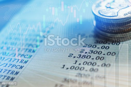 864278180istockphoto graph on rows of coins for finance and banking concept 691153372