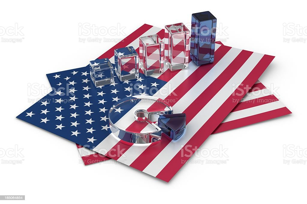 Graph on the American Flag royalty-free stock photo
