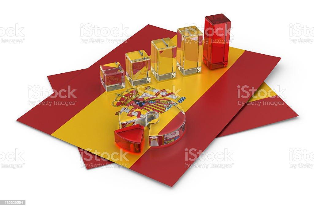 Gráfico na bandeira espanhola - foto de acervo