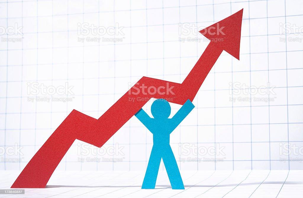 Graph pointing upwards stock photo