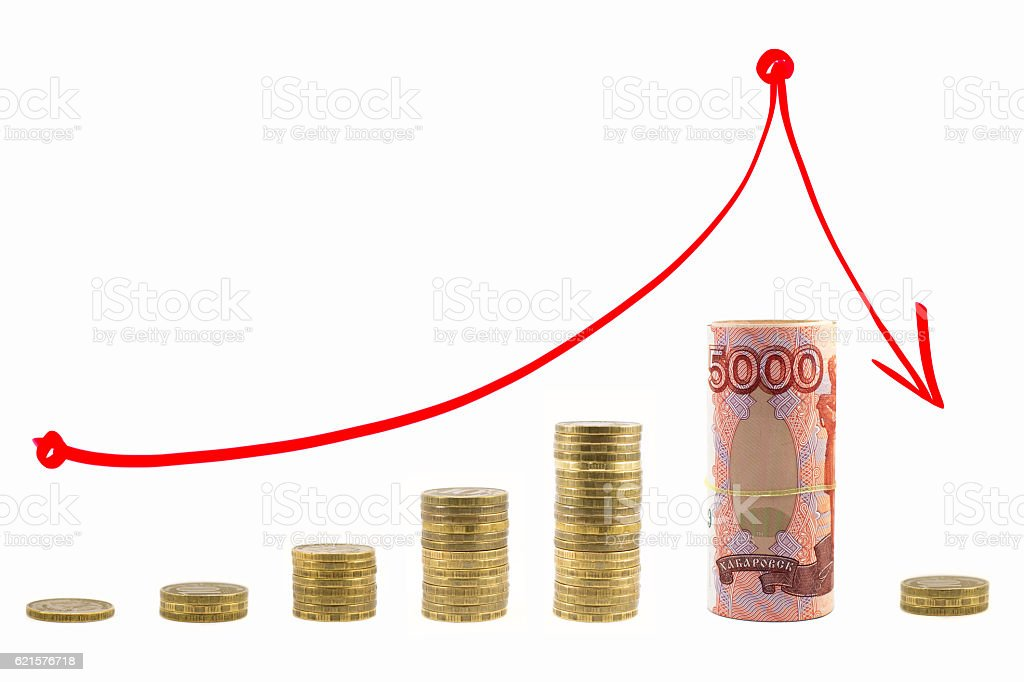 Graph rising and falling money. Red arrow up and down. photo libre de droits