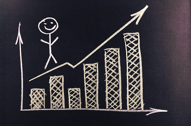 graph with an arrow and chart stock photo