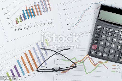 863469700 istock photo graph with glasses and calculator on stock market report as background 1008978740