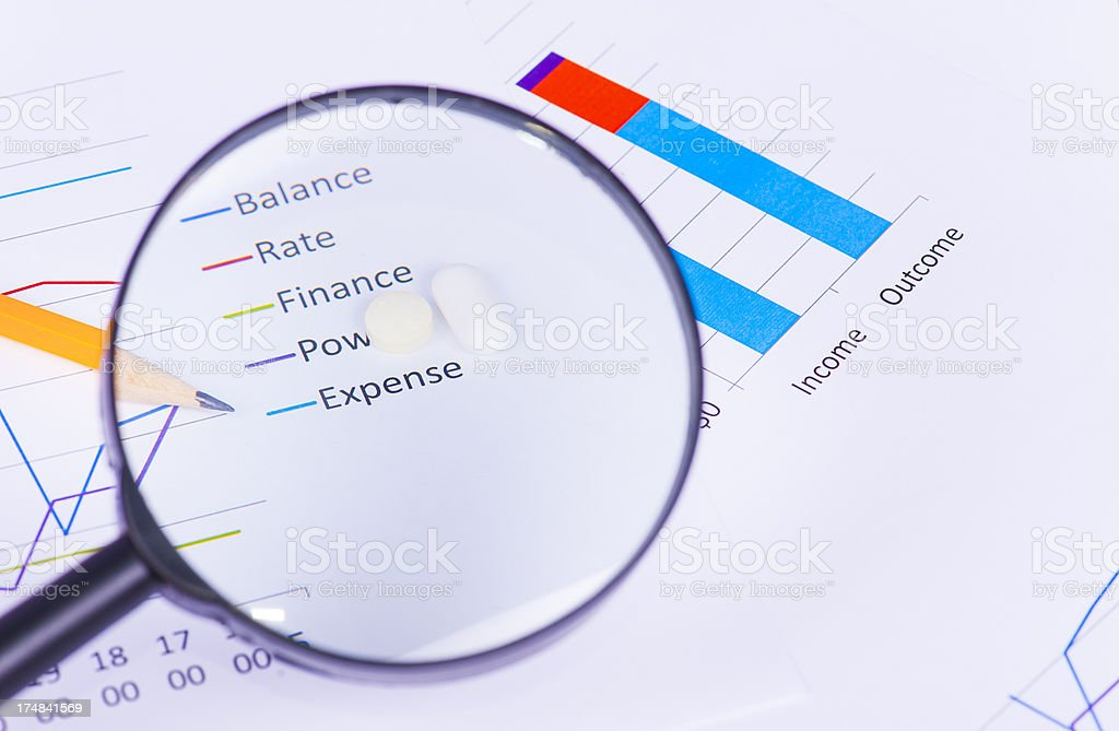 Graph with magnified expense and stress pills royalty-free stock photo