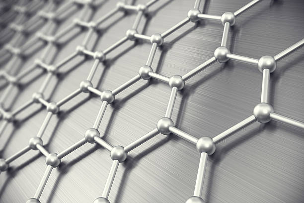 graphene atomic structure, nanotechnology background. 3d illustration - graphene stock photos and pictures