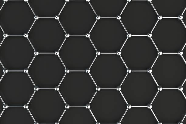 graphene atomic structure on black background - graphene stock photos and pictures