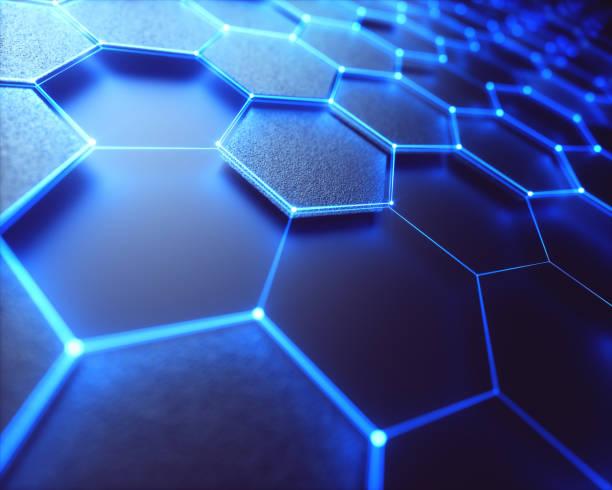 石墨烯六角形原子連接技術 - 蜂巢式樣 個照片及圖片檔