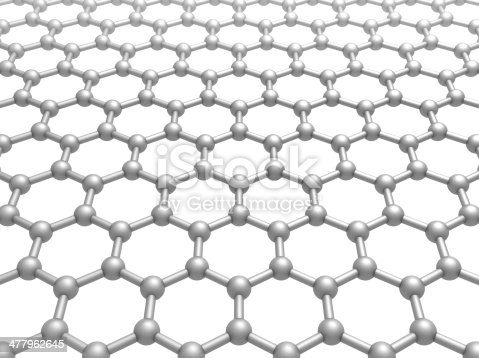 istock Graphene layer structure schematic model. 3d illustration isolated on white 477962645