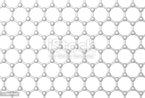 istock Graphene layer structure schematic model. Frontal 3d render 179339832