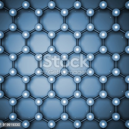 istock Graphene layer structure, top view. 3d 919919330