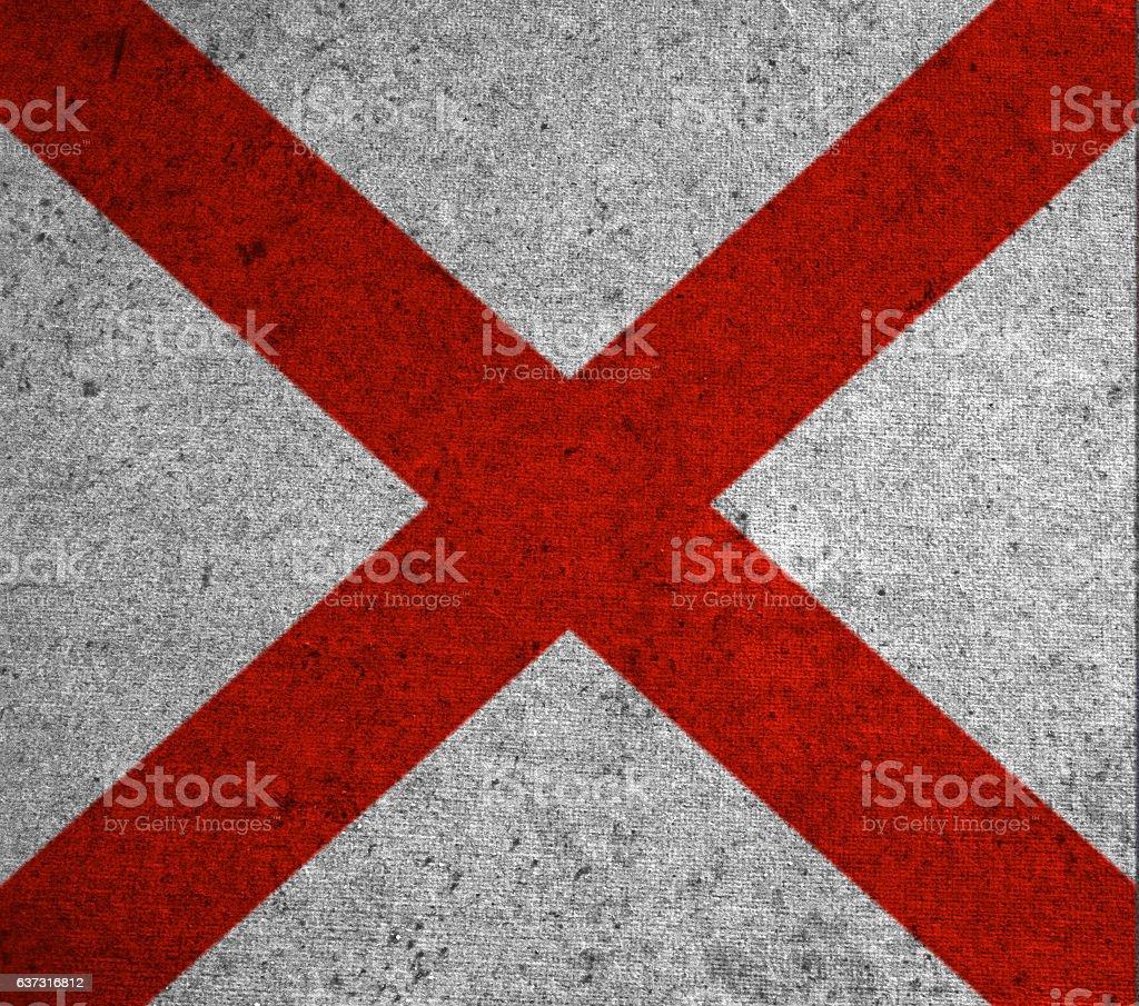 graphic american state grunge flag of alabama stock photo