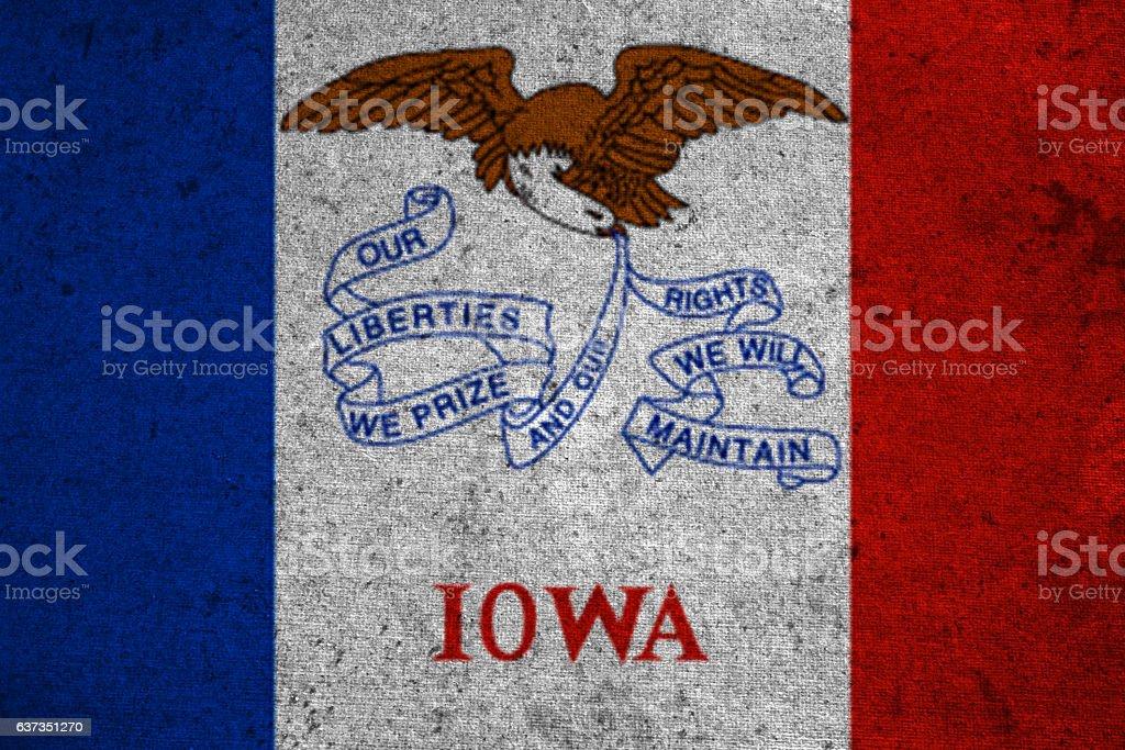 graphic american state grunge flag of iowa stock photo