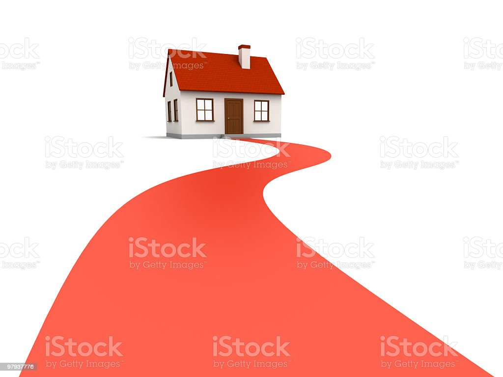 Graphic art of a red curved path to a red roofed house royalty-free stock photo
