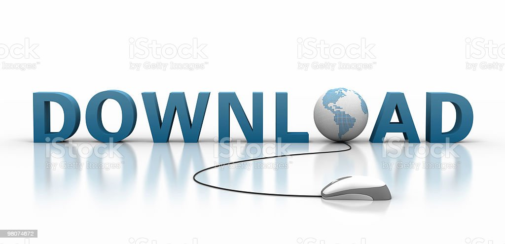 Graphic art of the word download using related imagery royalty-free stock photo