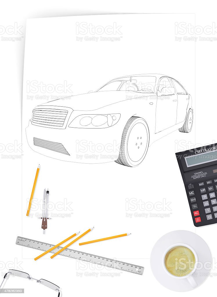 Graphic car model stock photo