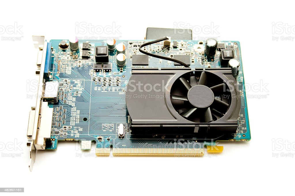 Graphic Card with Black Fan on white background stock photo