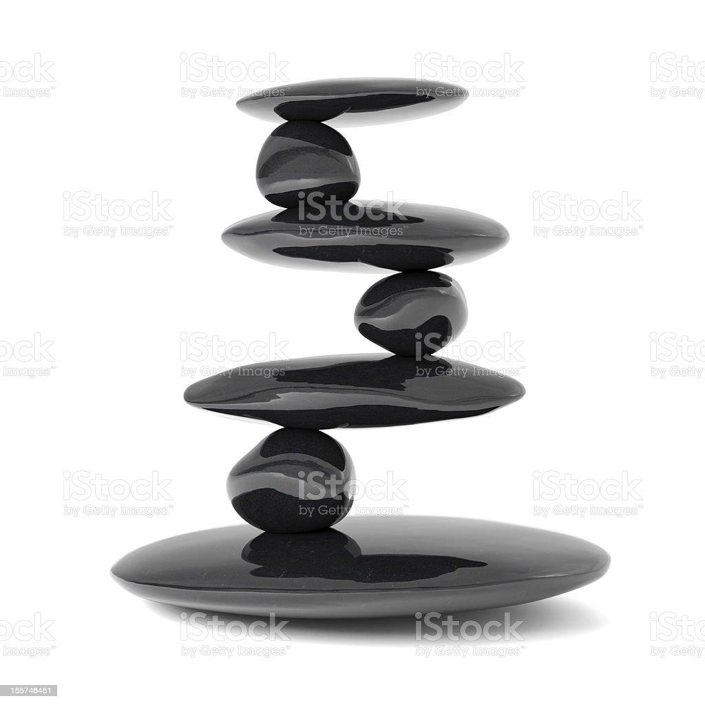 Graphic concept of black Zen stones balancing stock photo