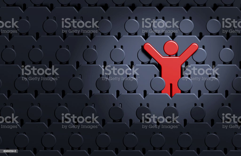Graphic design image of red man standing out amongst crowd royalty free stockfoto