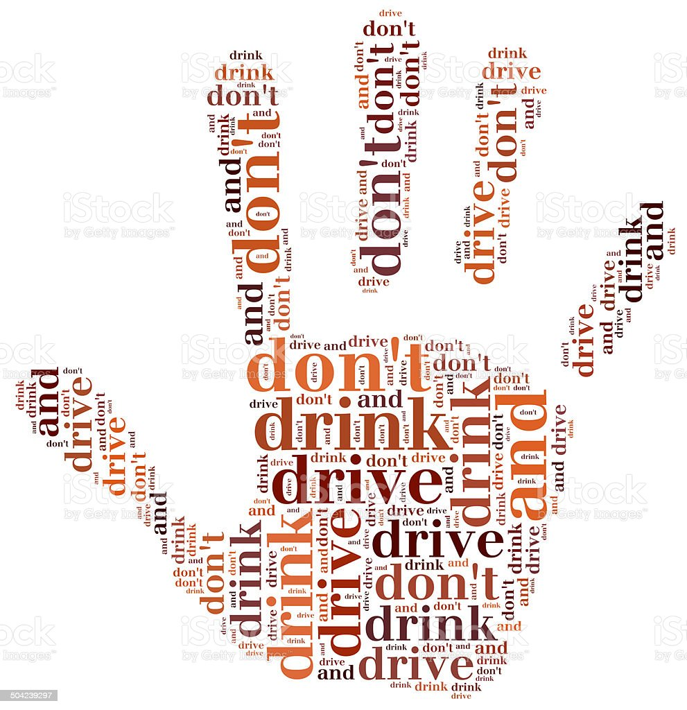 Graphic design related to driving after alcohol stock photo