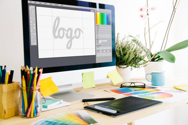graphic design studio - logo stock photos and pictures
