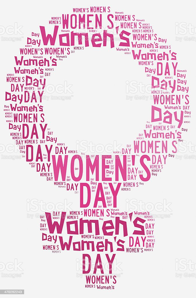 Graphic Design Womens Day Related In Shape Of Female Symbol Stock