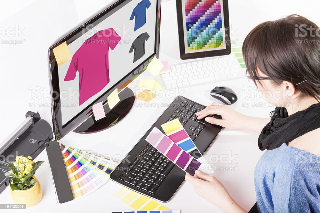 Graphic Designer At Work Color Samples Stock Photo & More ...