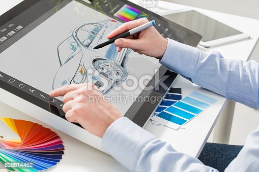 istock Graphic designer at work. Color samples. 628814452