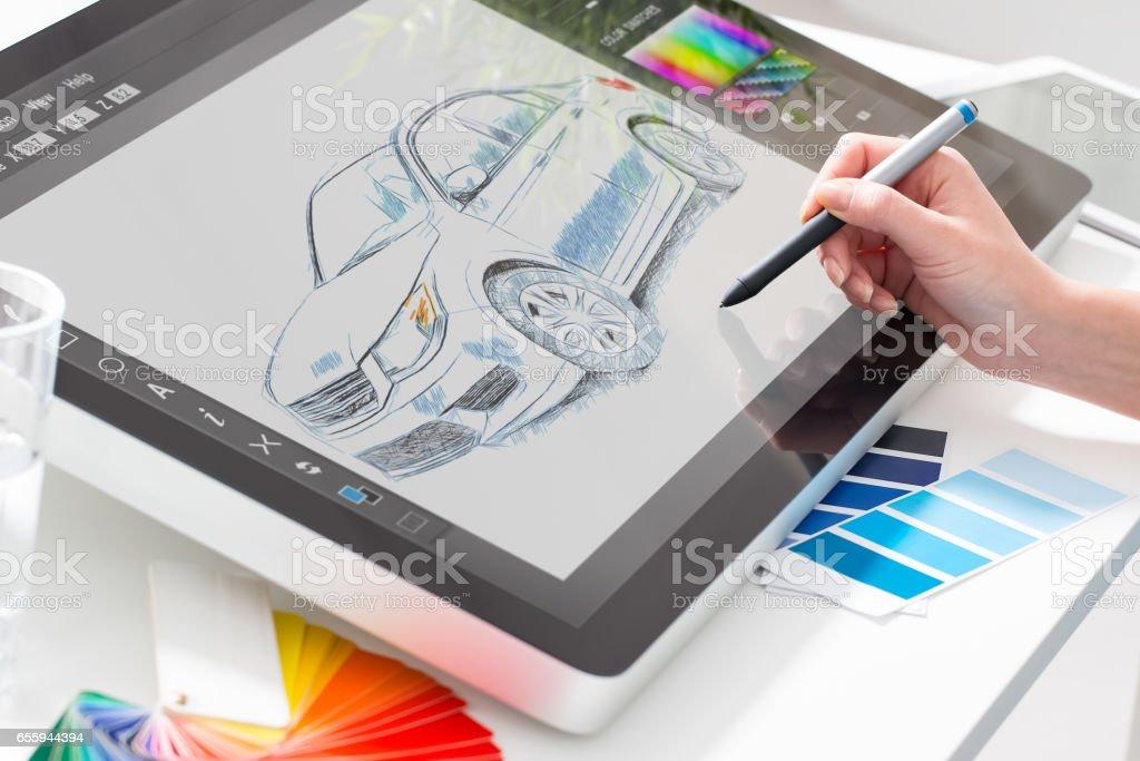 Grafik designer bei der Arbeit.  Farbe Proben. – Foto