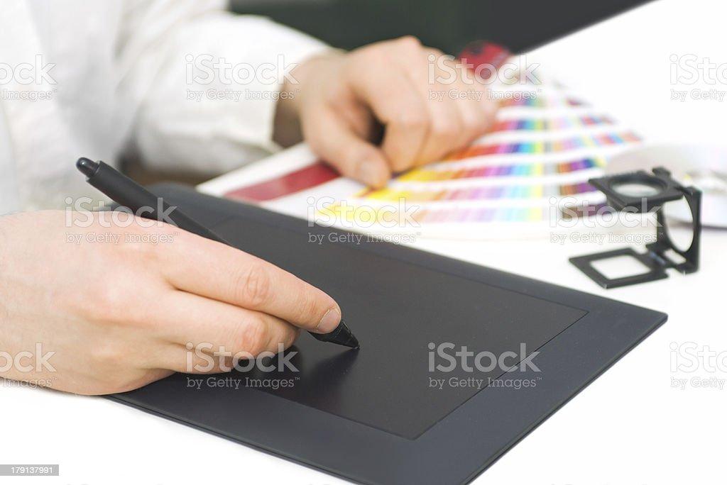 Graphic designer at work royalty-free stock photo