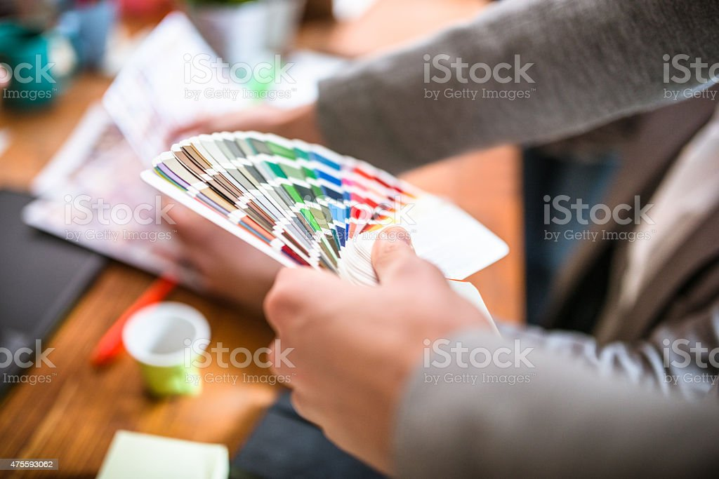 graphic designer at work stock photo