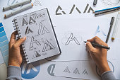 istock Graphic designer development process drawing sketch design creative Ideas draft Logo product trademark label brand artwork. Graphic designer studio Concept. 1149597075