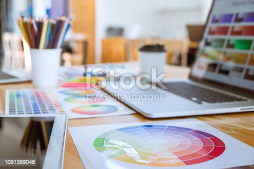 istock Graphic designer object tool and color swatch samples at workspace 1091389048